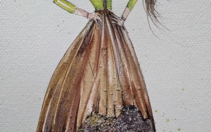Malujemy akwarelę modową_sukienka